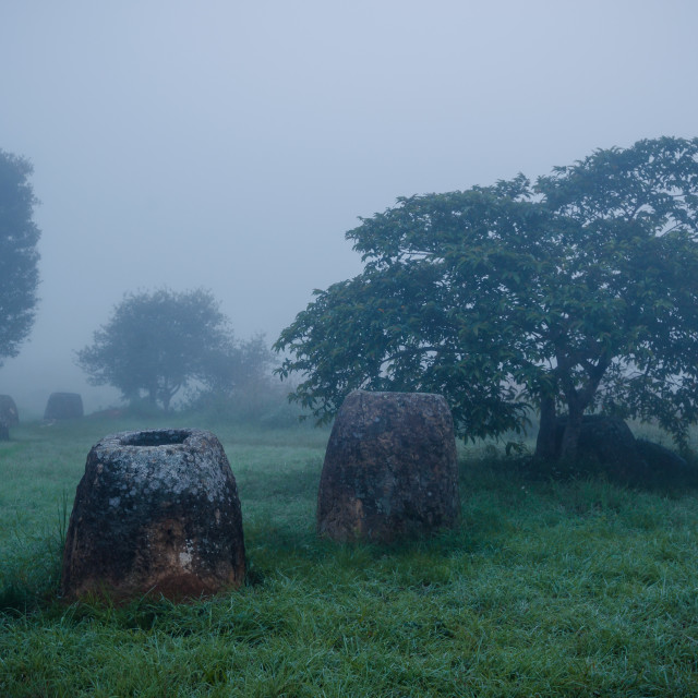 """A field of jars in Phonsavann, Laos"" stock image"