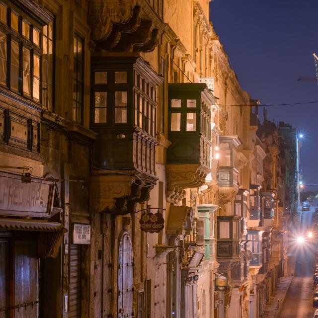 """""""Valletta medieval street at night, Malta"""" stock image"""
