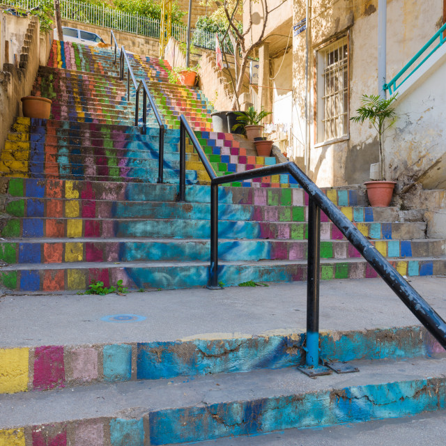 """Coloruful stairs, Beirut, Lebanon"" stock image"