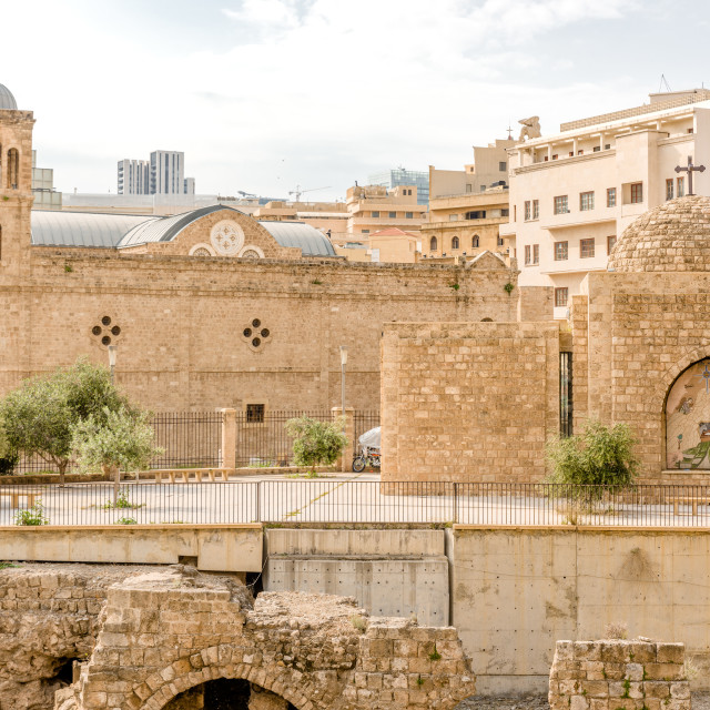 """The Roman ruins and Saint George Cathedral, Downtown, Beirut, Lebanon"" stock image"