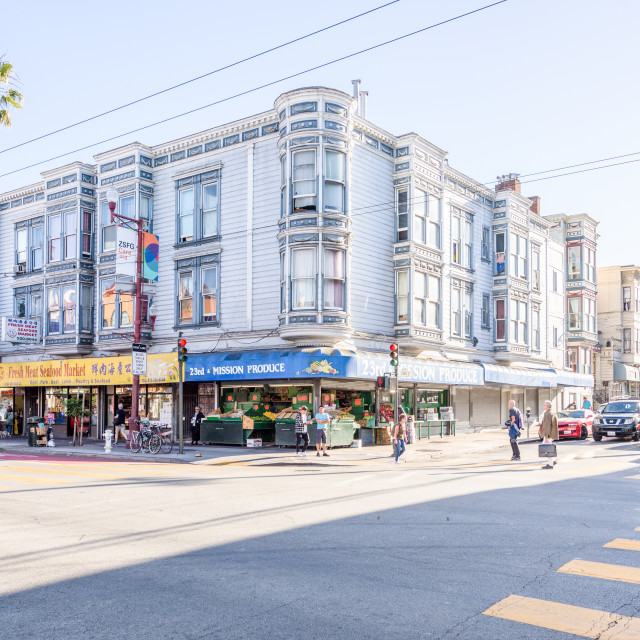 """Mission Street historic district, San Francisco, California"" stock image"