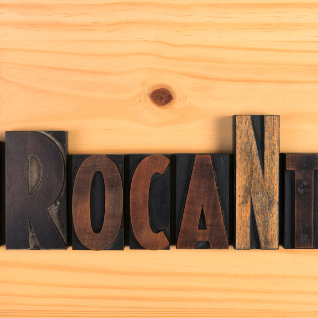 """Brocante Vintage wooden letters on wood"" stock image"