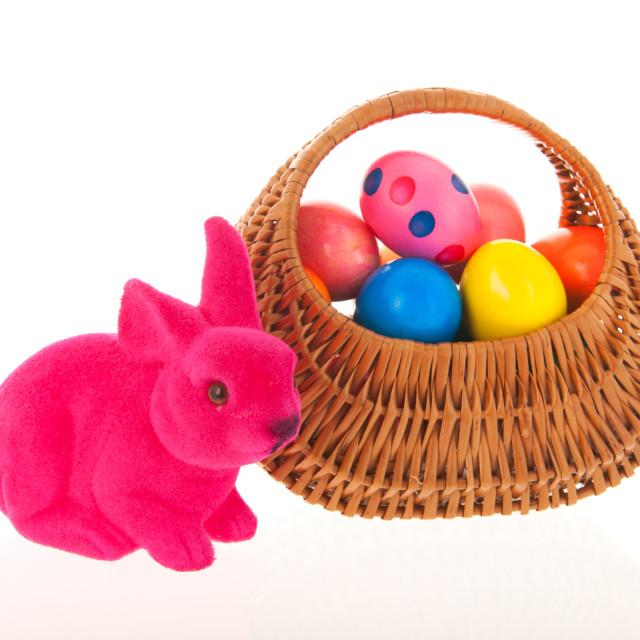 """Wicker basket easter eggs"" stock image"