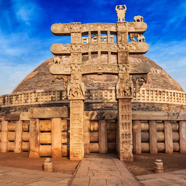 """Great Stupa. Sanchi, Madhya Pradesh, India"" stock image"