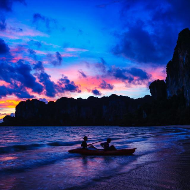 """Railay beach on sunset, Krabi Province Thailand"" stock image"