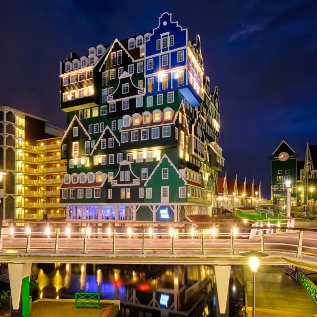 """Inntel Hotel in Zaandam illuminated at night, Netherlands"" stock image"