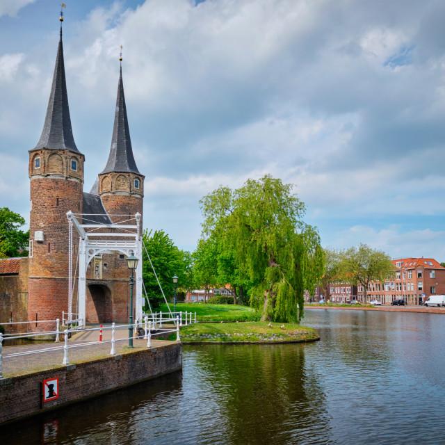 """""""Oostport (Eastern Gate) of Delft. Delft, Netherlands"""" stock image"""