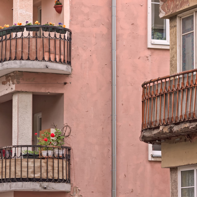 """""""Balconies With Flowers"""" stock image"""