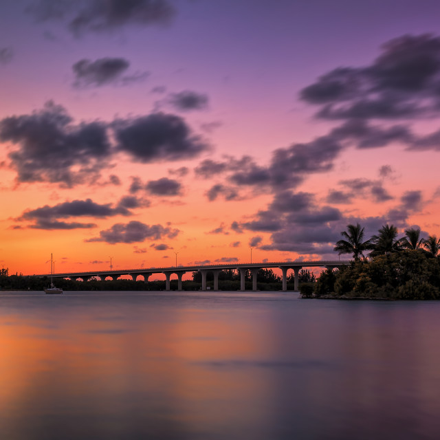 """A Florida Bridge and a Colorful Sunset"" stock image"