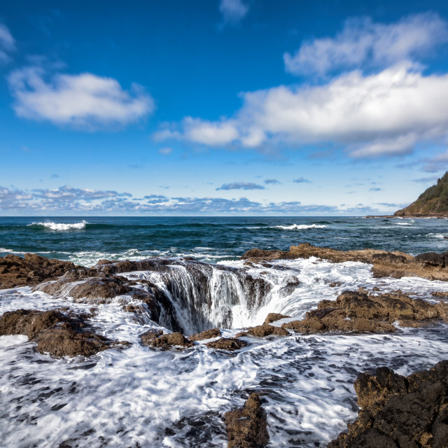 """Thor's Well, Cape Perpetua, Oregon, USA, Color Image"" stock image"