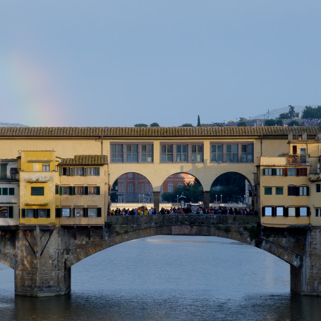 """Ponte Vecchio with a rainbow in Florence"" stock image"
