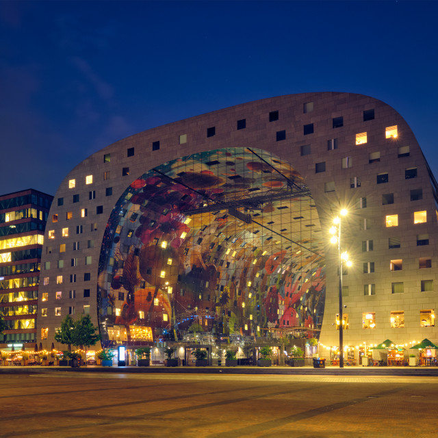 """""""Markthal Market Hall building with a market hall underneath in Rotterdam,..."""" stock image"""