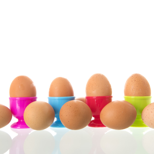 """""""Egg cups with eggs"""" stock image"""