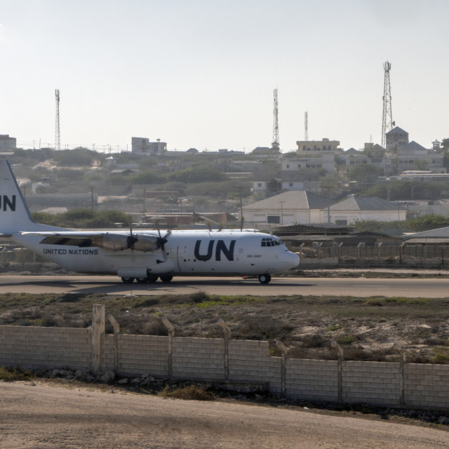 """UN plane arriving in Mogadishu"" stock image"