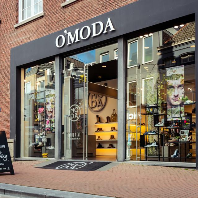 """Omoda shoe store in Dordrecht"" stock image"