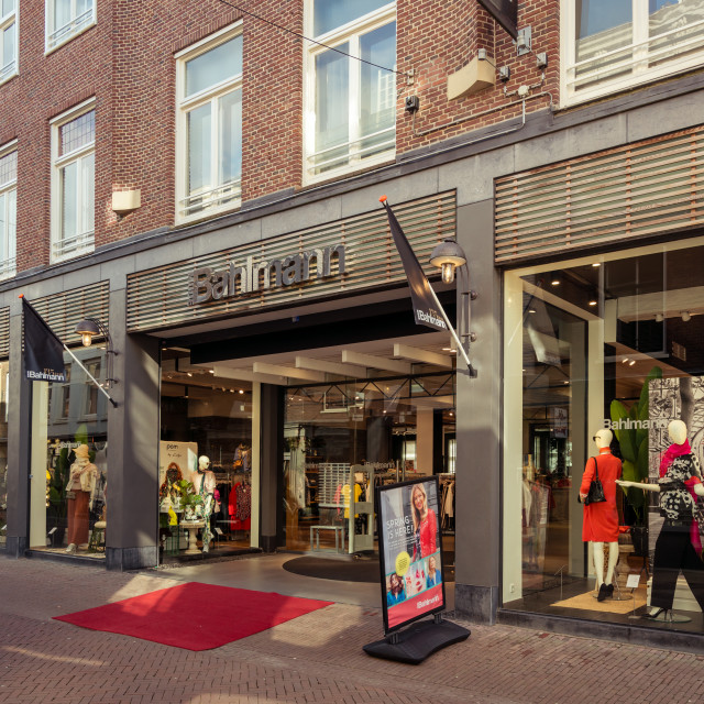 """""""Bahlmann Fashion on the Voorstraat."""" stock image"""
