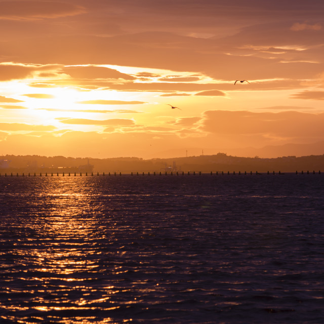 """Sunset View - Silverknowes, Edinburgh"" stock image"