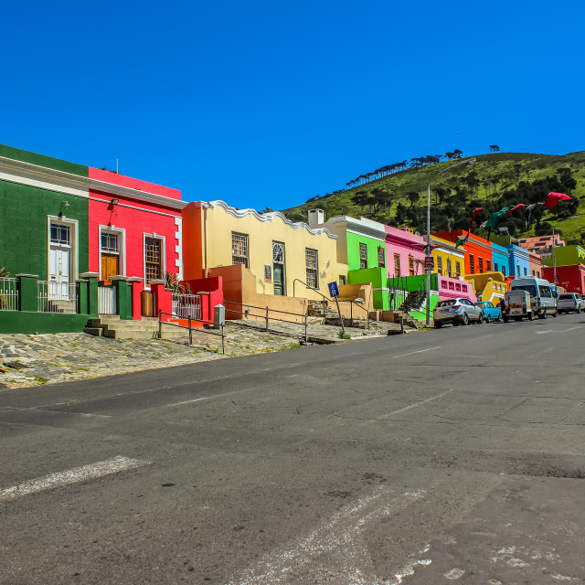 """""""Colorful streets of Bo-Kaap a cape malay colony in Cape Town Sou"""" stock image"""