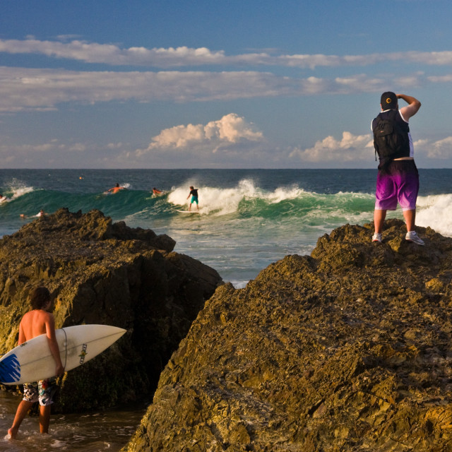 """Capturing the surfing action—Snapper #1"" stock image"