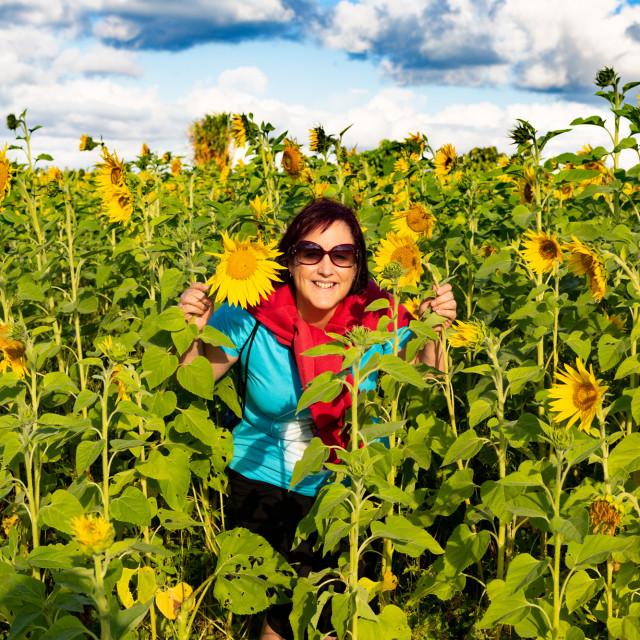 """Tiva the sunflower woman"" stock image"