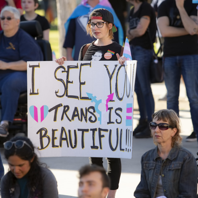 """Woman with Sign Supporting Trans People at Rally"" stock image"
