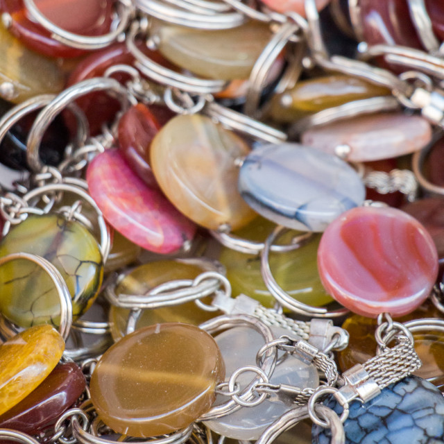 """Key holder ring attached to a semi precious stone"" stock image"