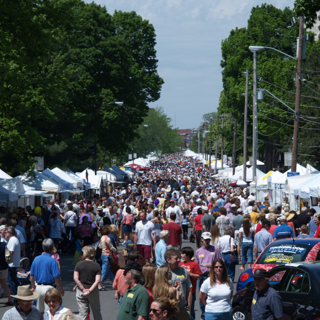 """Arts Fest Crowds on Walnut Street"" stock image"