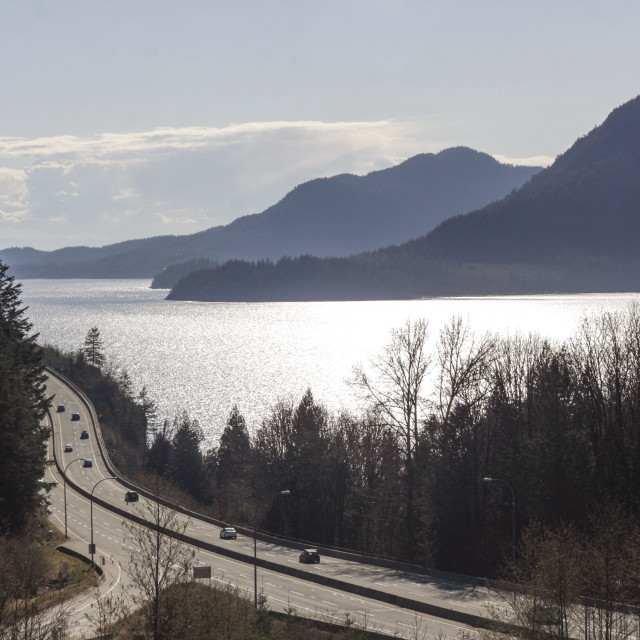 """sea to sky highway on warm spring day"" stock image"
