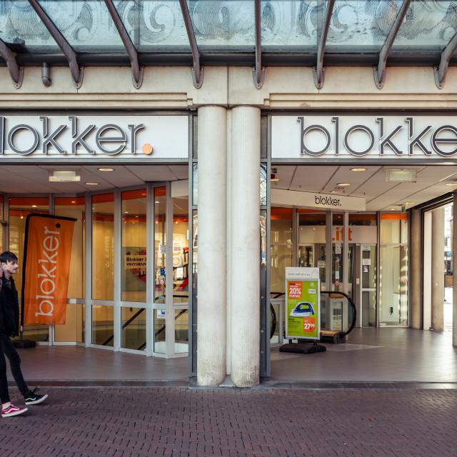 """Walking past the Blokker store"" stock image"
