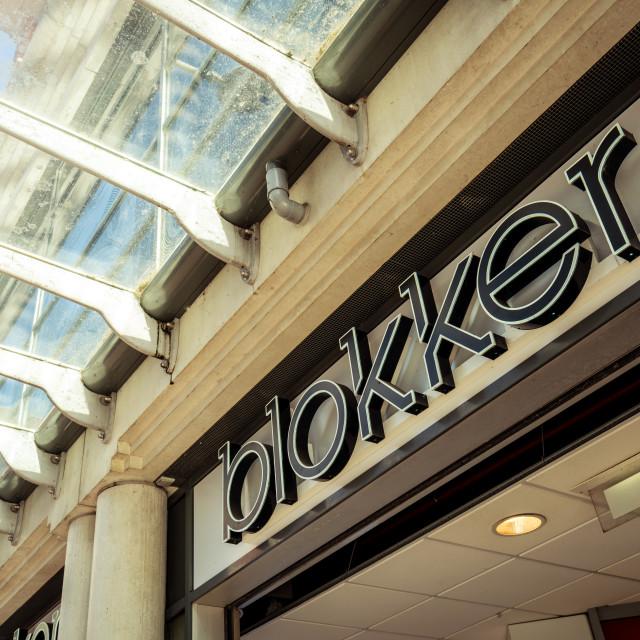 """""""Blokker logo above the storefront entrance"""" stock image"""