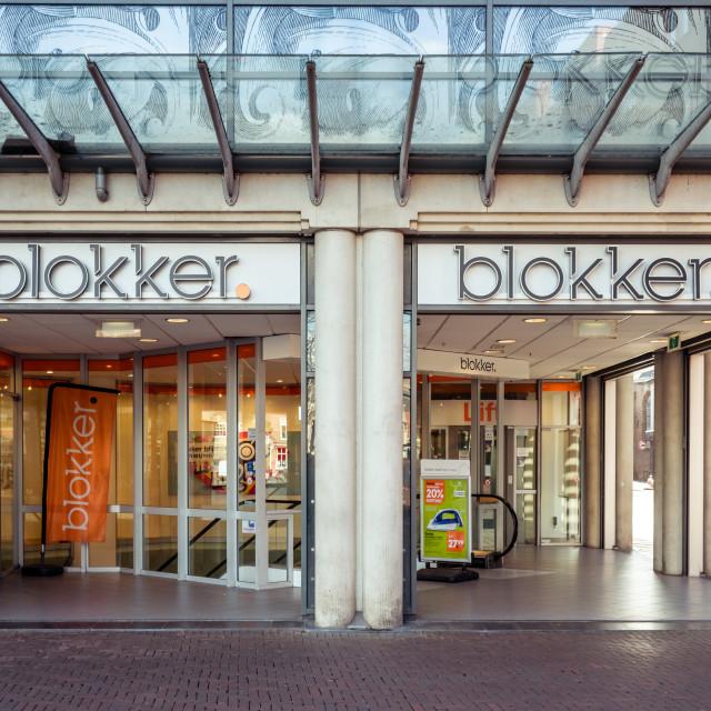 """Blokker logo above the entrace"" stock image"