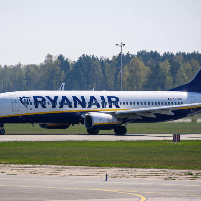 """Ryanair Boeing 737-8AS airplane, during departure from Riga International Airport (RIX)."" stock image"