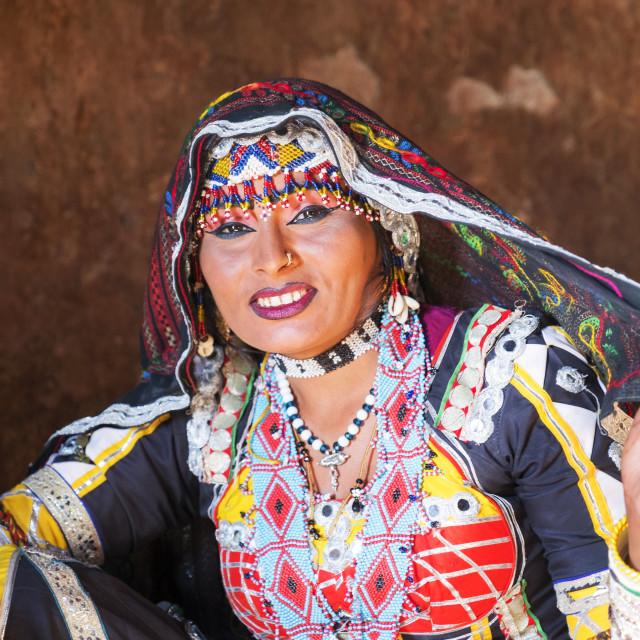 """Portrait, Kalbelia gypsy dancer in traditional dress, Thar Desert, Osian."" stock image"