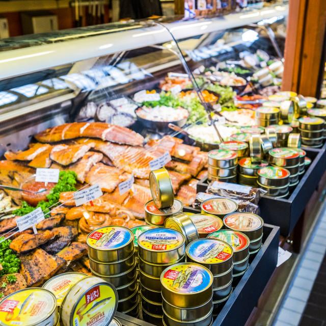 """Food for sale at Kauppahalli market at the port of Helsinki, Uusimaa,..."" stock image"