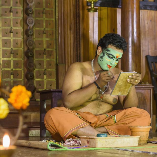 """""""Applying makeup for the traditional play / dance, Kerala Kathakali..."""" stock image"""
