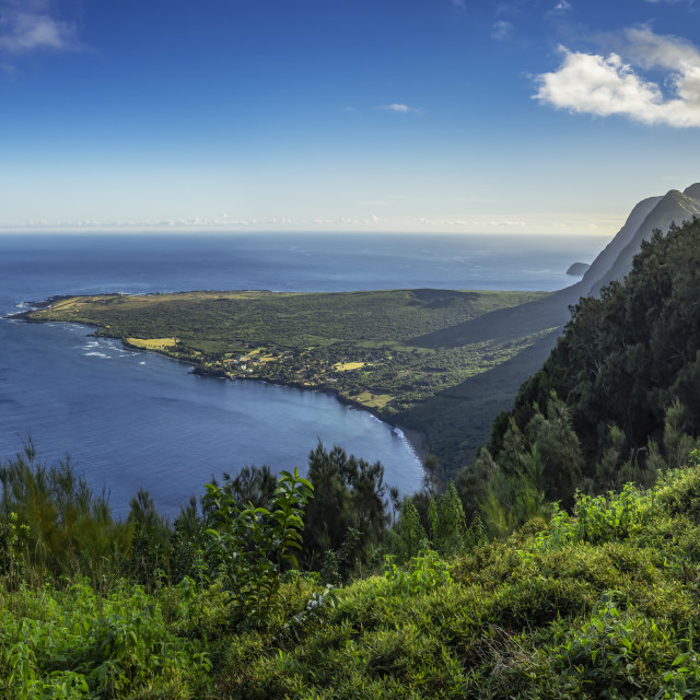 """""""Overview of Kalupapa Peninsula showing the the island's Leper Colony."""" stock image"""