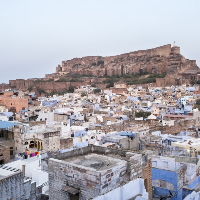 """Landscape, Blue City against the backdrop of Mehrangarh Fort."" stock image"