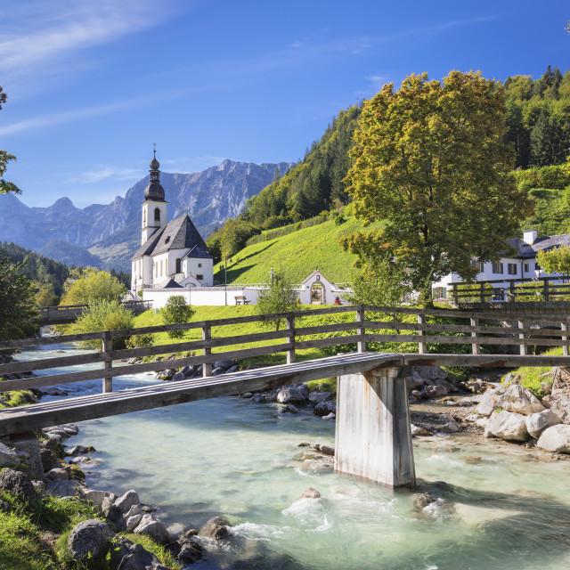 """Parish Church, Reiteralpe Mountain, Ramsauer Ache River, Ramsau,..."" stock image"