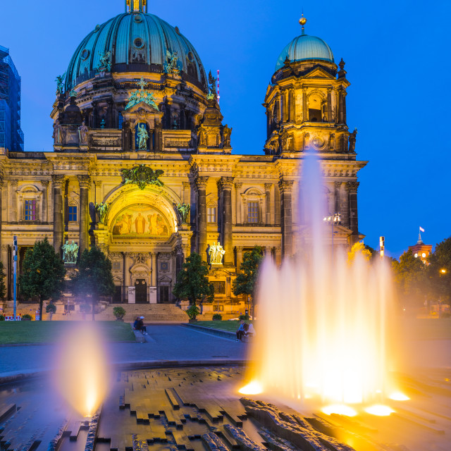 """""""Berliner Dom (Berlin Cathedral) on the River Spree at night, Berlin, Germany,..."""" stock image"""