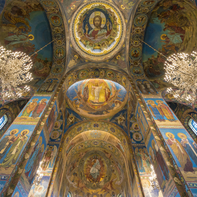 """Interiors of the Church of the Saviour on Spilled Blood. Saint Petersburg,..."" stock image"
