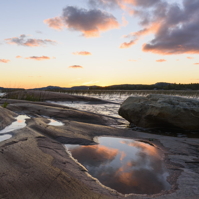 """Georgian Bay, Lake Huron at dusk, Killarney, Ontario, Canada"" stock image"