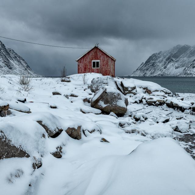 """Red hut in Ramberg"" stock image"