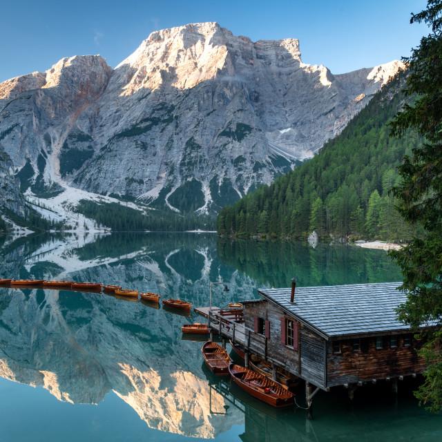"""""""Lago di Braies - Dolomites"""" stock image"""