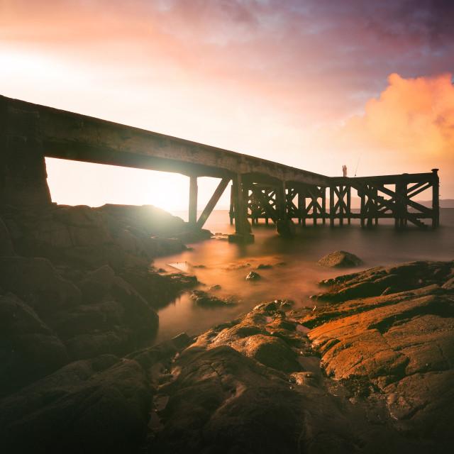 """Portencross Pier Ayrshire Coast"" stock image"