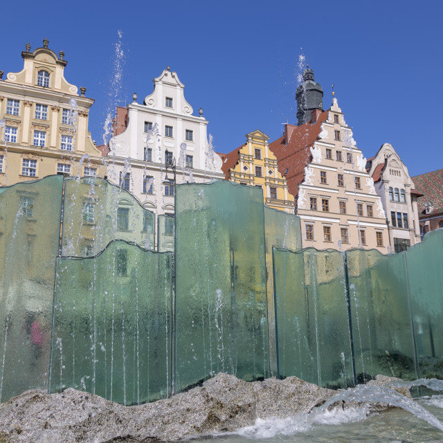 """""""Wroclaw, Poland - July 09, 2018: Beautiful fountain on the market square in Wroclaw, Poland"""" stock image"""