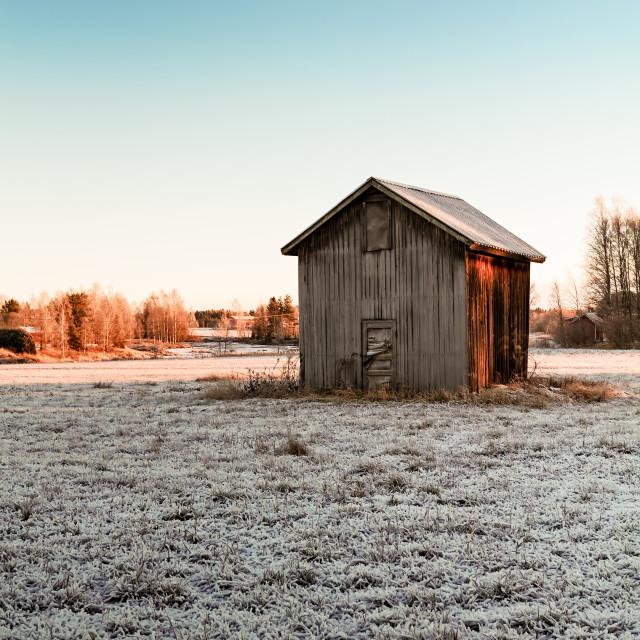 """Tiny Barn House On The Frosty Fields"" stock image"