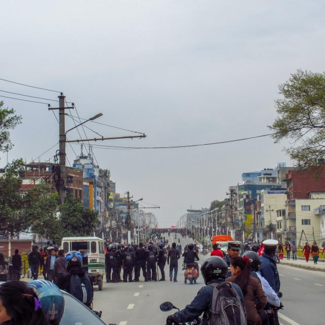 """Riot in Kathmandu"" stock image"