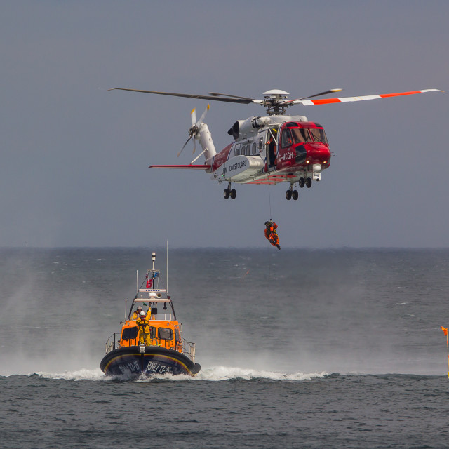 """""""Lifeboat and Helicopter"""" stock image"""