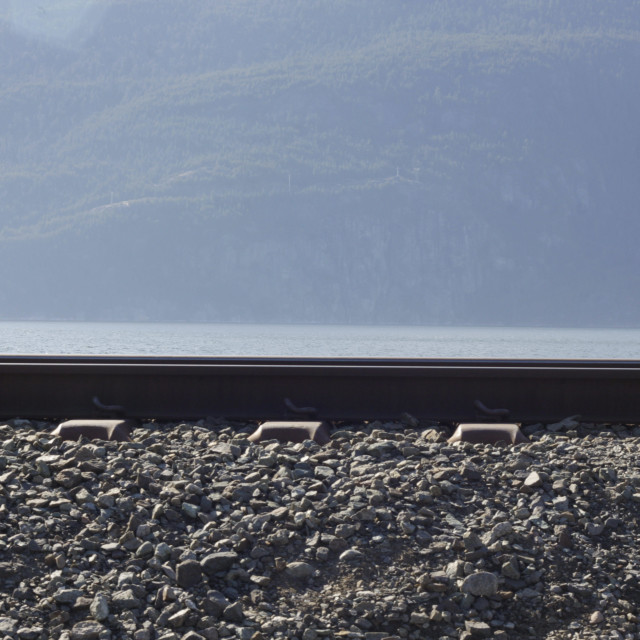 """""""railroad ties by Squamish River"""" stock image"""