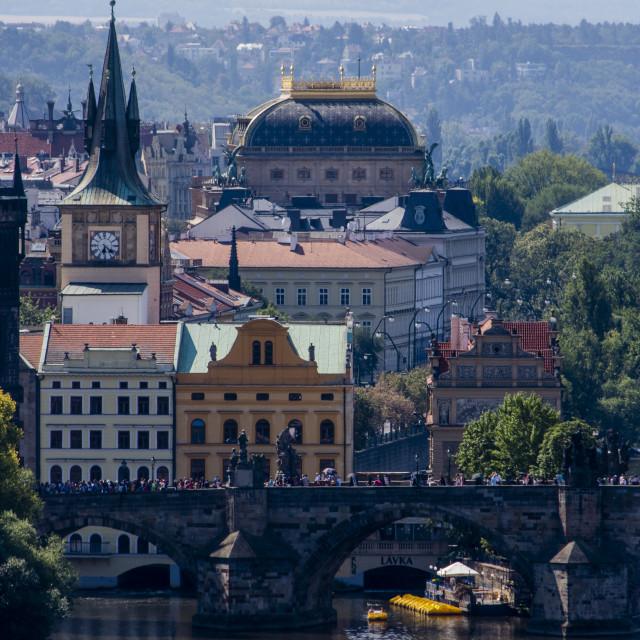 """Historic Charles Bridge and Vltava river in Prague, Czech Republic"" stock image"